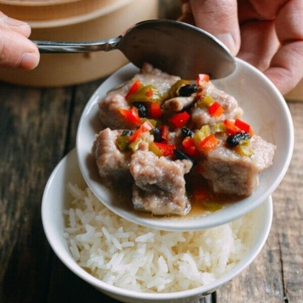 Dim sum spare ribs with bowl of rice