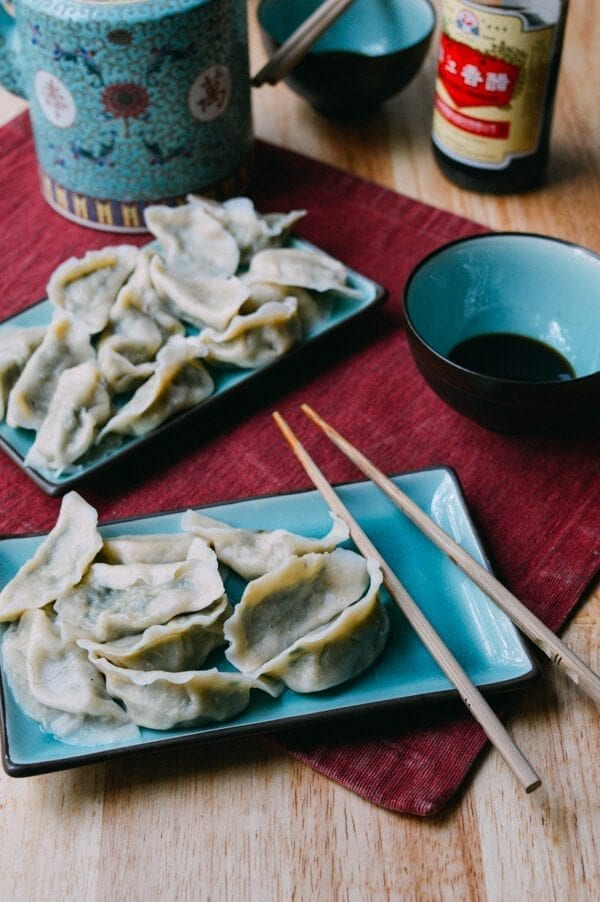 Pork Chive Dumplings, by thewoksoflife.com
