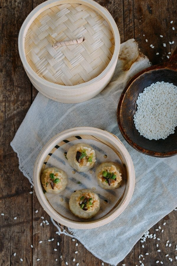 Sticky Rice Mushroom Shumai w/ Homemade Wrappers (Vegan), by thewoksoflife.com