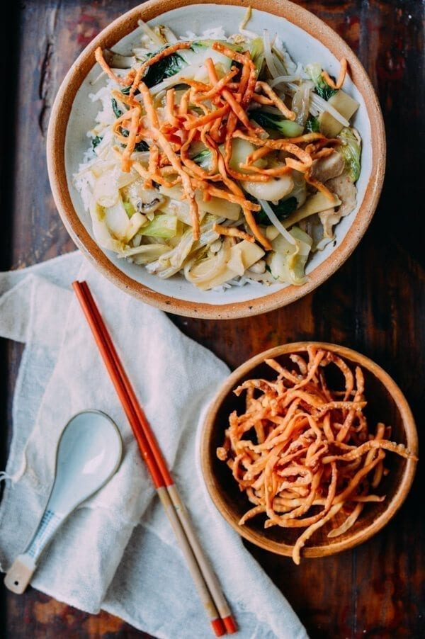American Chicken Chow Mein With Fried Noodles The Woks Of Life