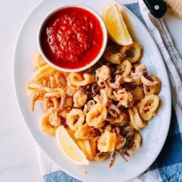 Fried Calamari with marinara and lemon