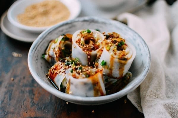 Homemade rice noodles (cheung fun), by thewoksoflife.com