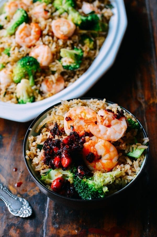 Shrimp Fried Rice w/ Thai Basil, by thewoksoflife.com