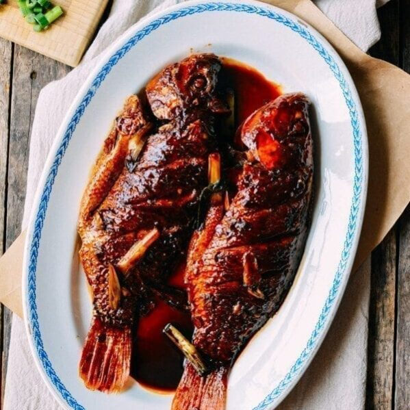 Two Chinese red braised fish