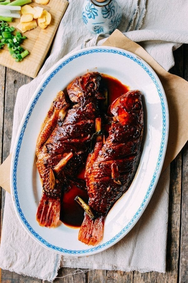 Chinese New year recipes - Chinese Braised Fish (Hongshao Yu), by thewoksoflife.com