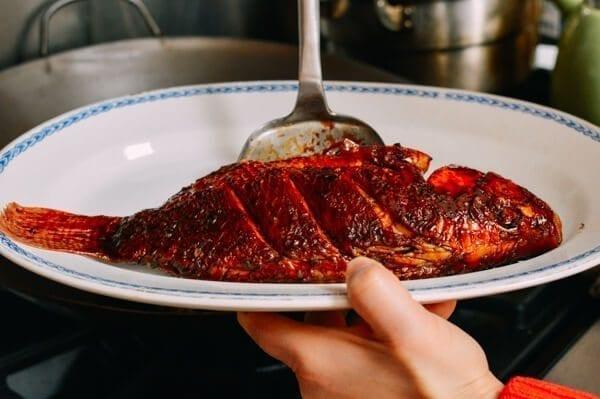 Chinese Braised Fish (Hongshao Yu), by thewoksoflife.com
