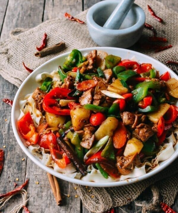 Big Plate Chicken (Chinese Da Pan Ji) with Noodles, by thewoksoflife.com