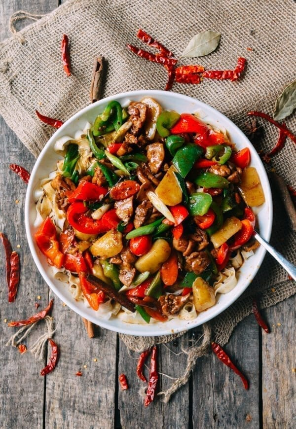 Big Plate Chicken (Chinese Da Pan Ji) with Noodles, by thewoksoflife.com