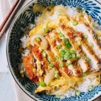 Katsudon Japanese Pork Cutlet and Egg Rice Bowl, by thewoksoflife.com