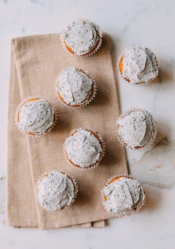 Peanut Butter Cupcakes w/ Black Sesame Frosting, by thewoksoflife.com