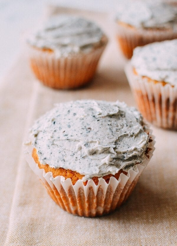 Peanut Butter Cupcakes w/ Black Sesame Frosting, by thewoksoflife.com