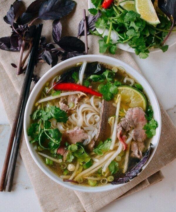 Pho Recipe (Vietnamese Beef Noodle Soup), by thewoksoflife.com