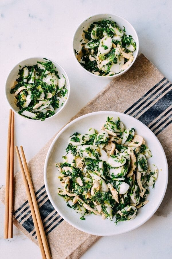 Shanghai Rice Cake Stir-fry w/ Greens, by thewoksoflife.com