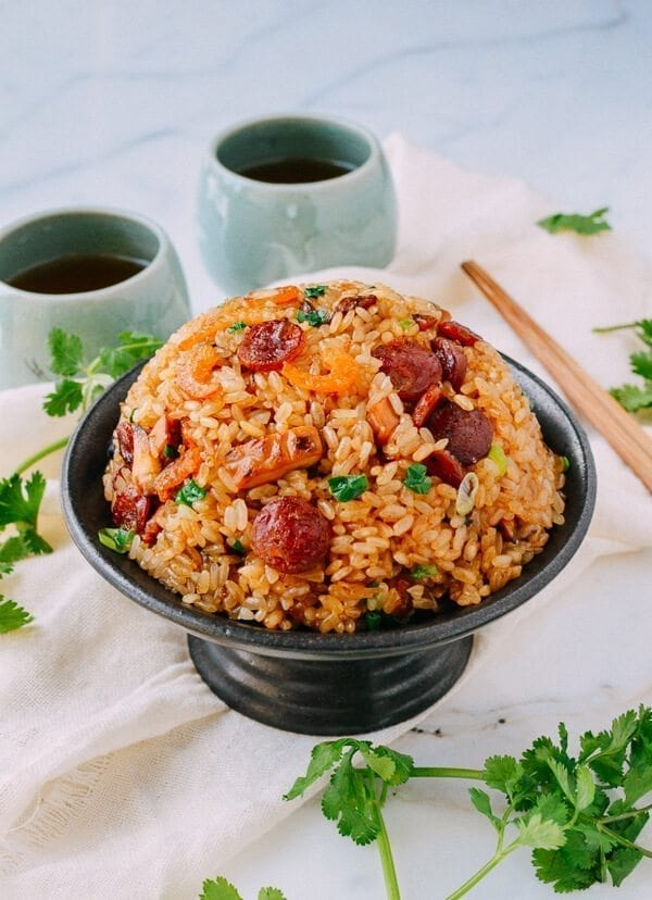 Chinese New year Recipes - Sticky Rice w/ Chinese Sausage, by thewoksoflife.com
