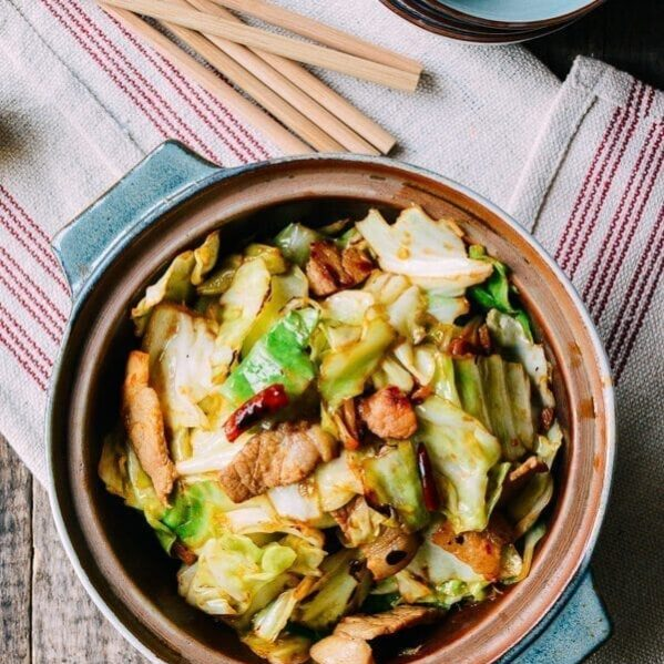 Cabbage stir-fry with pork belly