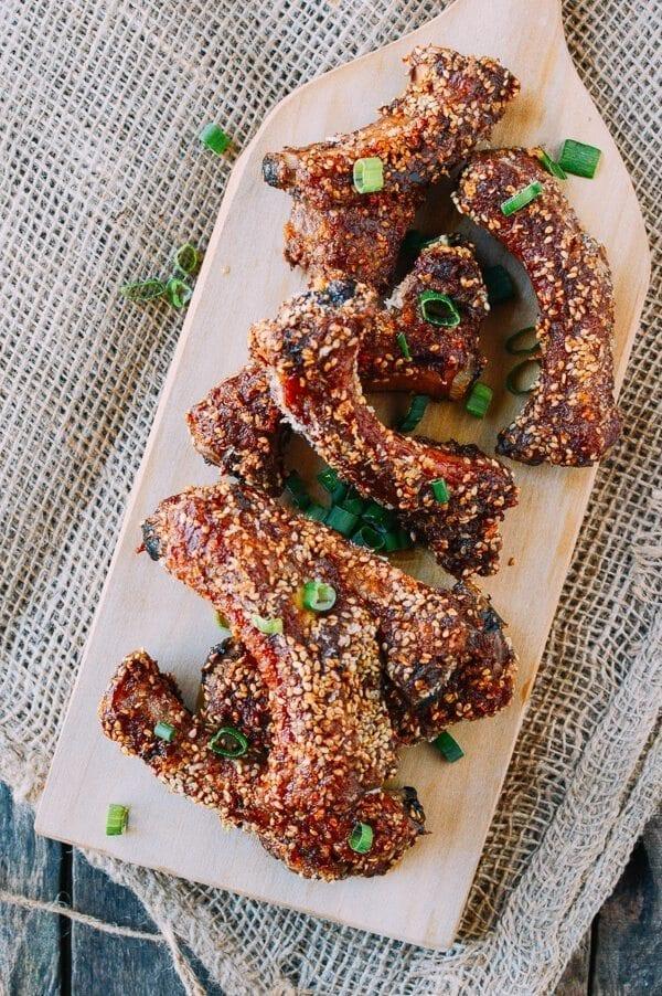 Chinese Ribs w/ a Sesame Crust, by thewoksoflife.com
