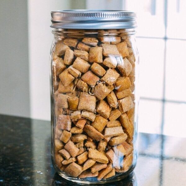 Homemade puppy treats in Kerr jar