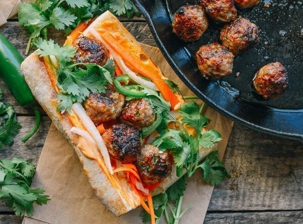 Meatball Banh Mi, by thewoksoflife.com