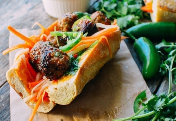 Meatball Banh Mi Recipe, by thewoksoflife.com