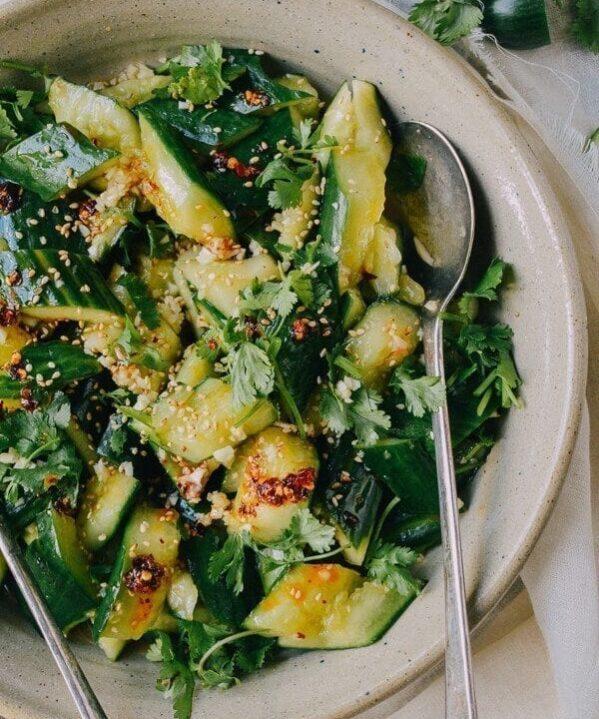Smashed Asian Cucumber Salad, by thewoksoflife.com