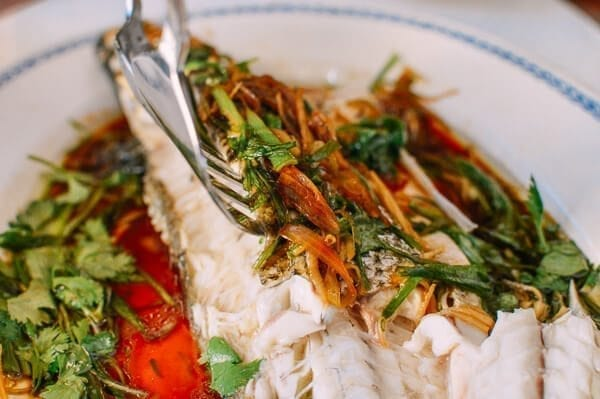 Chinese Steamed Whole Fish, by thewoksoflife.com