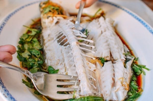 How to serve a Chinese Steamed Whole Fish, by thewoksoflife.com