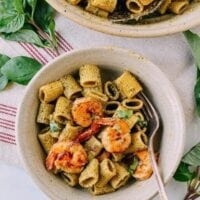 Thai Basil Pesto Pasta with Spicy Shrimp