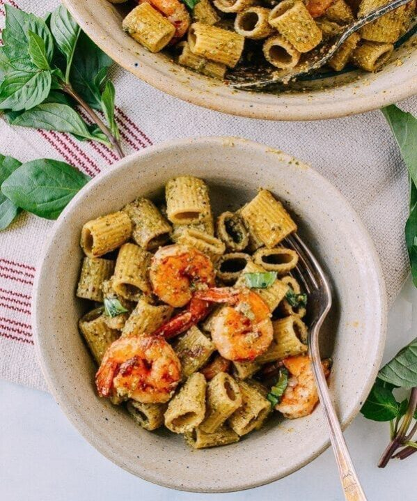 Thai Basil Pesto Pasta with Spicy Shrimp, by thewoksoflife.com