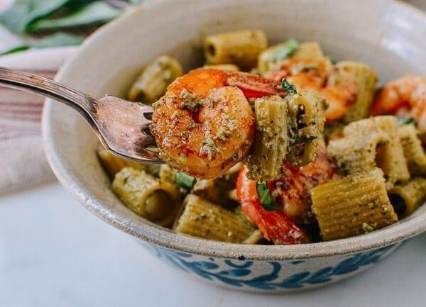 Thai Basil Pesto Pasta with Spicy Shrimp, by thewoksoflife.com