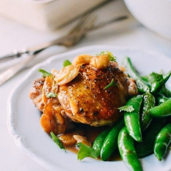 40 garlic chicken with sugar snap peas