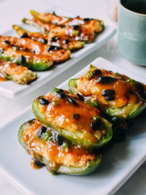 Chinese Stuffed Peppers, Classic Dim Sum Recipe, by thewoksoflife.com