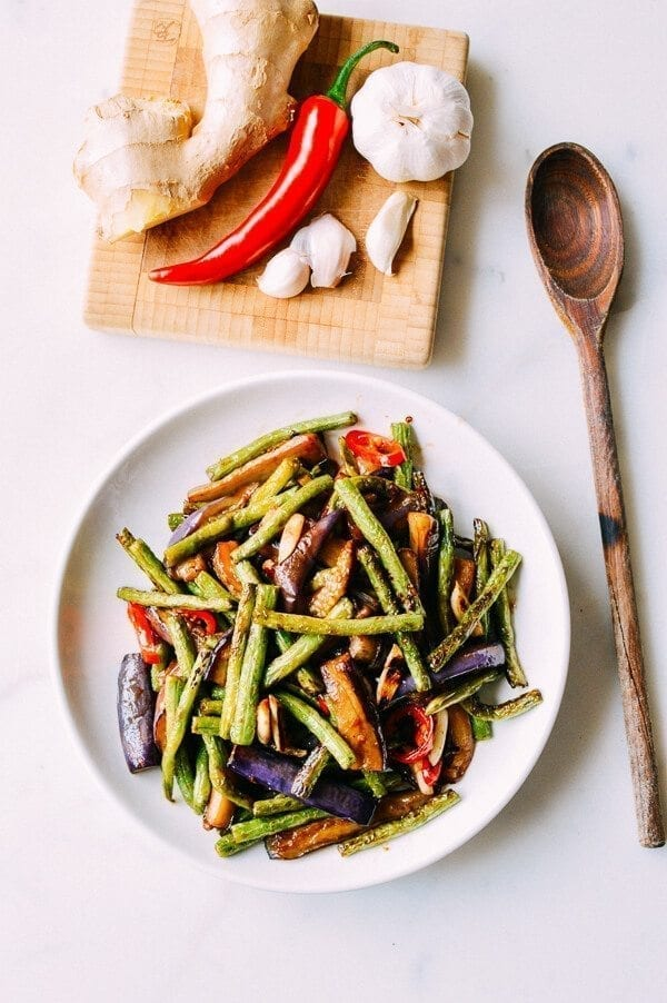Chinese Vegan Recipes - Eggplant String Bean Stir-fry, by thewoksoflife.com
