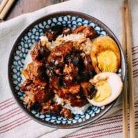 Lu Rou Fan (Taiwanese Braised Pork Rice Bowl), by thewoksoflife.com