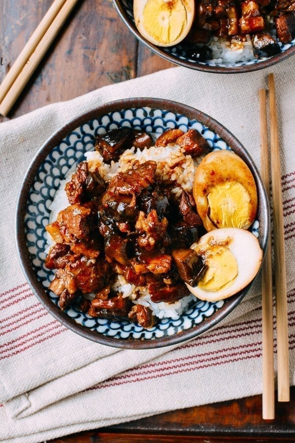 Lu Rou Fan (Taiwanese Braised Pork Rice Bowl), by thewoksoflife.com
