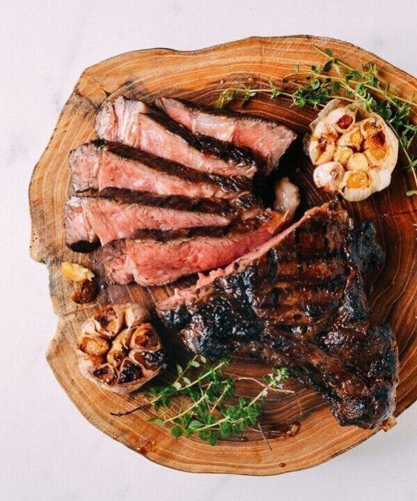Grilled Ribeye With Soy Butter Glaze, by thewoksoflife.com