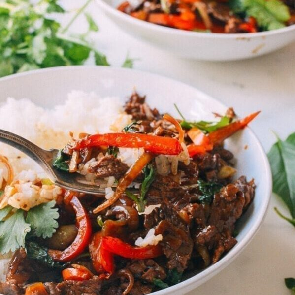Thai basil beef with white rice