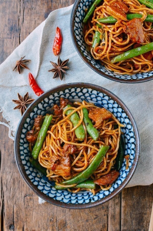 Chinese New year Recipes - Steamed Noodles with Green Beans, by thewoksoflife.com