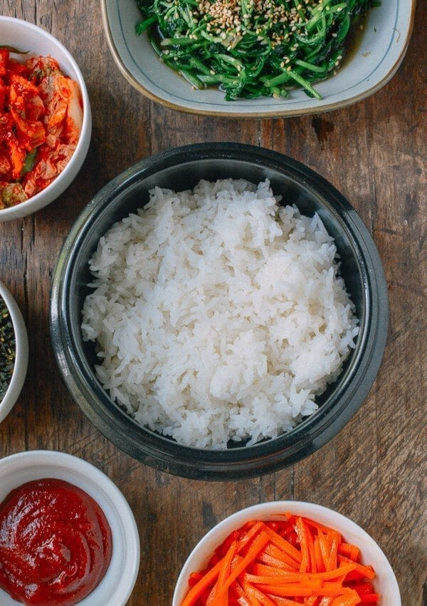 Salmon Bibimbap Korean Rice Bowl by thewoksoflife.com