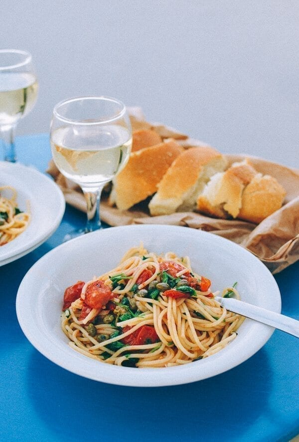 Spaghetti with Tomatoes, Capers, Mint & Parsley, by thewoksoflife.com