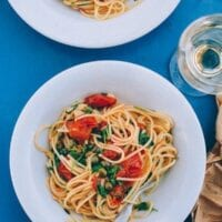 Spaghetti with Tomatoes, Capers, Mint & Parsley