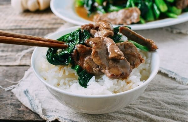 Chinese broccoli with beef over rice