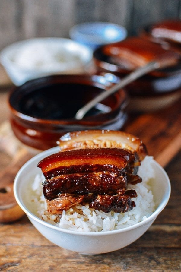 Braised Pork Belly (Dong Po Rou), by thewoksoflife.com