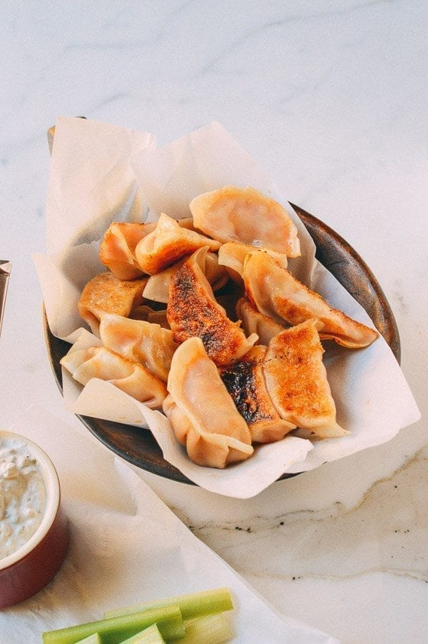 Buffalo Chicken Potstickers, by thewoksoflife.com