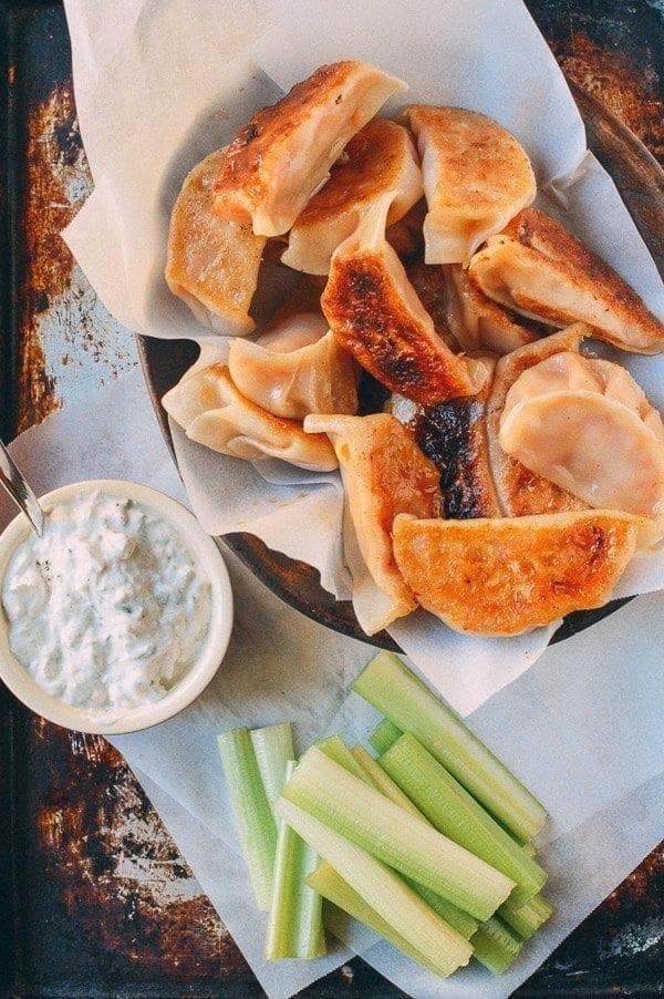 Buffalo Chicken Potstickers, by thewoksoflife.com