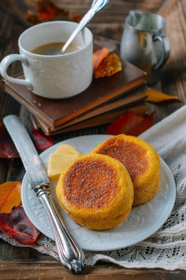 Pumpkin English Muffins, by thewoksoflife.com