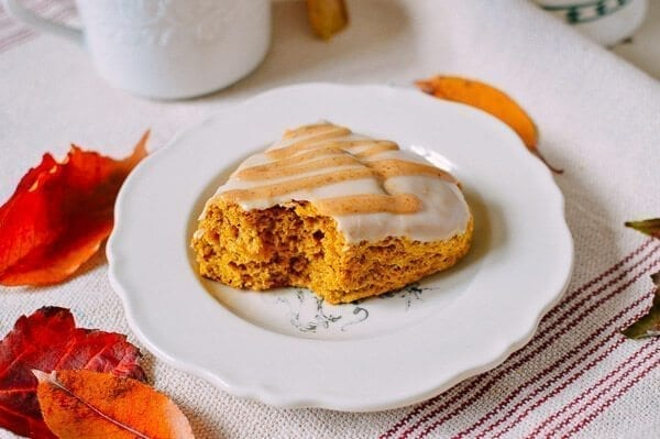 Glazed Pumpkin Scones, by thewoksoflife.com