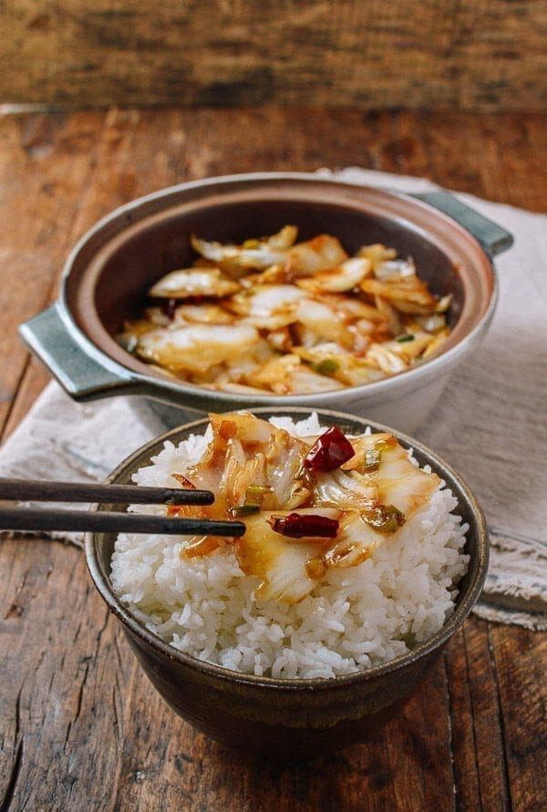 Sichuan Napa Cabbage Stir-fry (Suan La Bai Cai), by thewoksoflife.com
