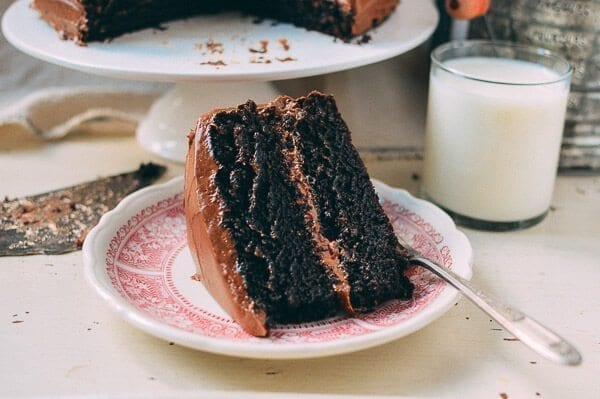 Slice of Chocolate Cake with Milk