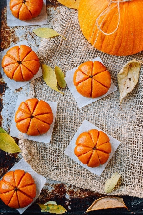 Pumpkin Mochi with Pumpkin Filling, by thewoksoflife.com