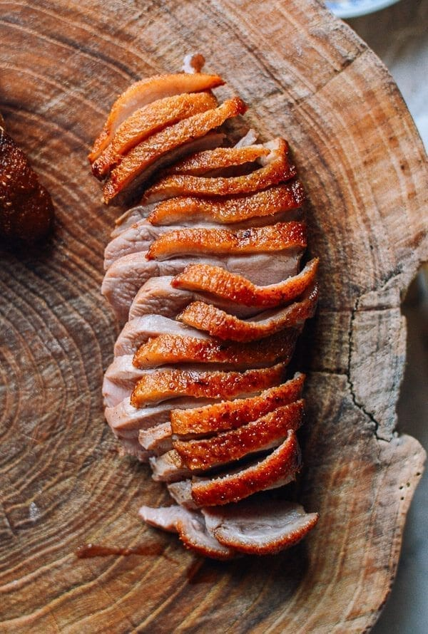Slices of seared duck breast with crispy skin, by thewoksoflife.com